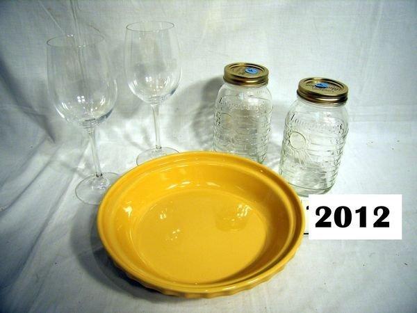 2012: Longaberger: MAIZE PIE PLATE, (2) BLUE RIBBON CAN
