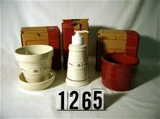 2265: Longaberger: TRADITIONAL (RED) POTTERY: FLOWER PO
