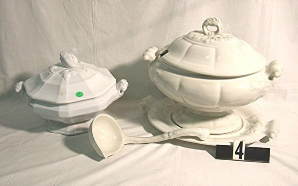 4: IRONSTONE COVERED CASSEROLE AND SOUP TUREEN