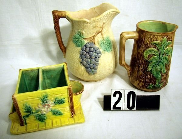 "20: (3 Pcs) MAJOLICA - 6 1/2"" & 8"" PITCHERS -AS FOUND"