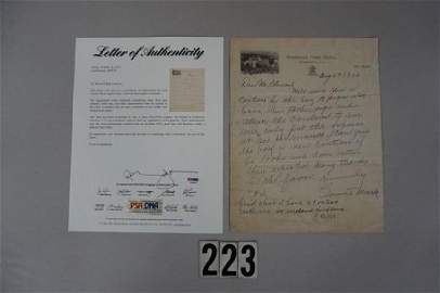CONNIE MACK SIGNED LETTER DATED AUGUST 4,1936