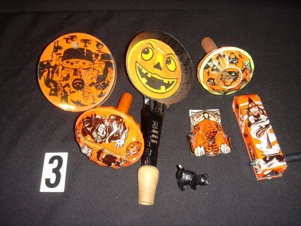 3: 6 Halloween Tin Noisemakers and Lead Black Cat