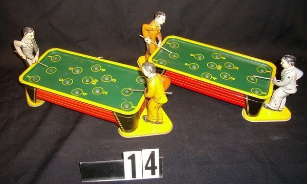14: Two Tin Wind Up Pool Billiard Players By Ranger