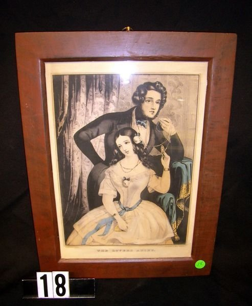 "18: Framed N. Currier Print ""The Lover's Adieu"""