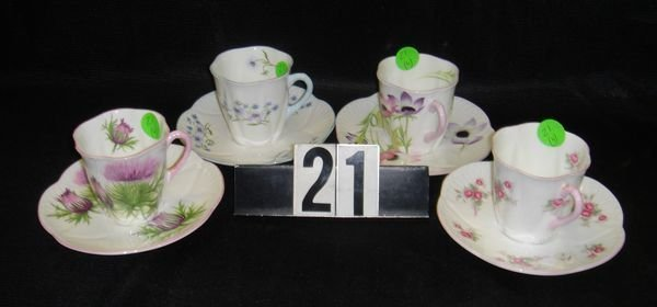 21: 4- Shelly Assorted Pattern Cup and Saucer Sets
