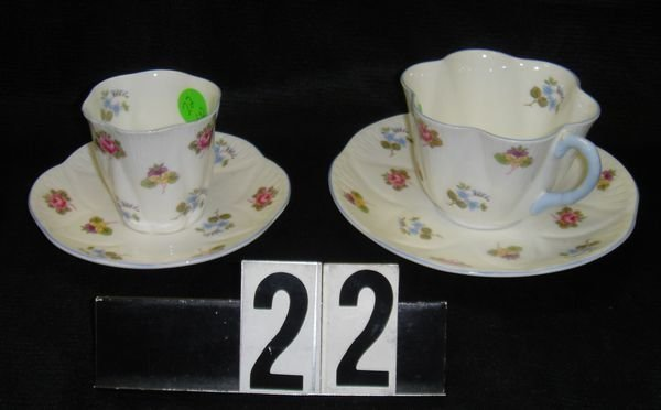 22: Shelly China Rose, Pansy, Forget Me Not Cup Saucer