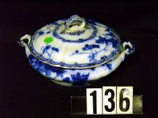 136: Flow Blue Round Covered Vegetable Bowl w/ Handles