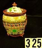 325 Three Footed Cracker Jar w Lid Oriental Decor