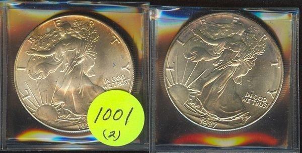 1001: 1986 & 87 Silver Eagles- Unc