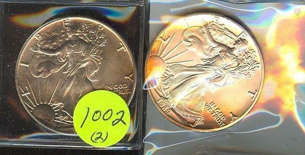 1002: 1988 & 89 Silver Eagles- Unc
