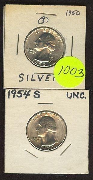 1003: 1950 & 54s Washington Quarters- Unc/Prooflike