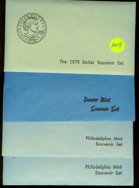 1004: 1979p,D&S S.B.A. Dollars, 1983 P & D 5 Pc Mint Se