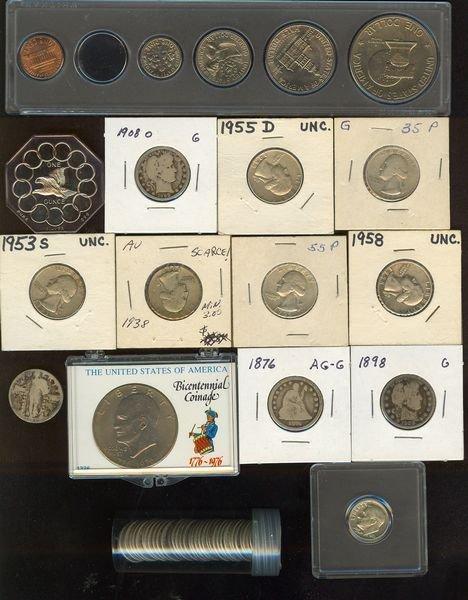 1005: 35 Mercury Dimes, 2 Barber, Seated Quarters, etc