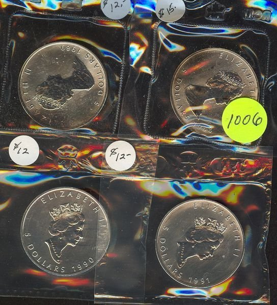 1006: 1988, 89, 90 & 91 Canadian Silver Maple Leaf's