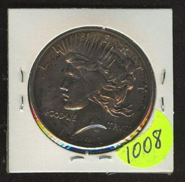 1008: 1921 Peace Dollar- XF