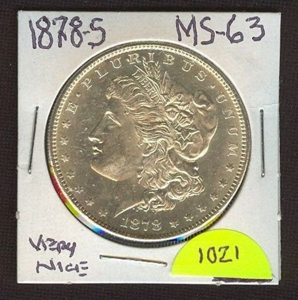 1021: 1878-S Morgan Silver Dollar (Nice) MS-63