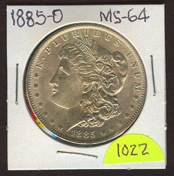 1022: 1885-D Morgan Silver Dollar (Beauty) MS-64