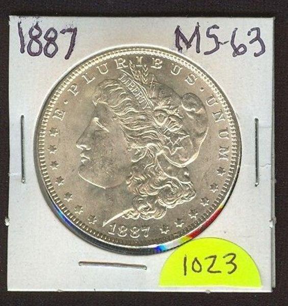 1023: 1887 Morgan Silver Dollar MS-63