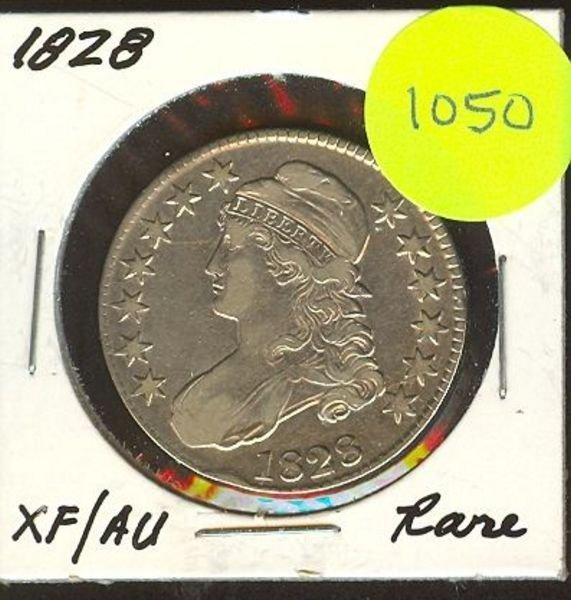1050: 1828 Capped Bust Half Dollar- Rare - XF/AU