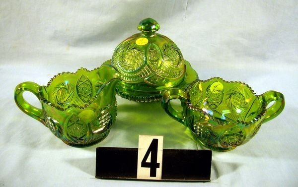 4: Carnival Glass - (3 Pcs.) Hobstar/Country Kitchen