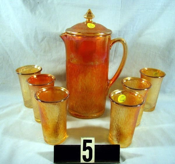 5: Carnival Glass - Tree Bark 7 Pc. Water Set (M), etc