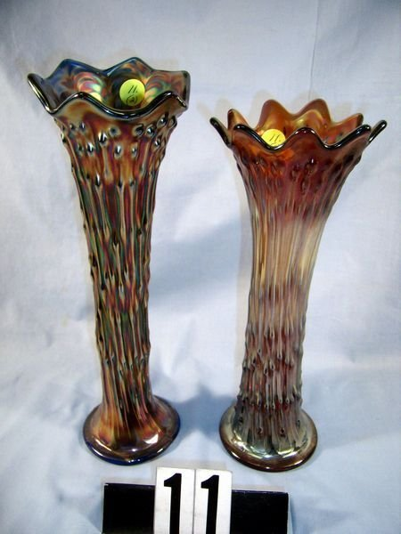 11: Carnival Glass - (2 Pcs.) April Showers Vase, etc
