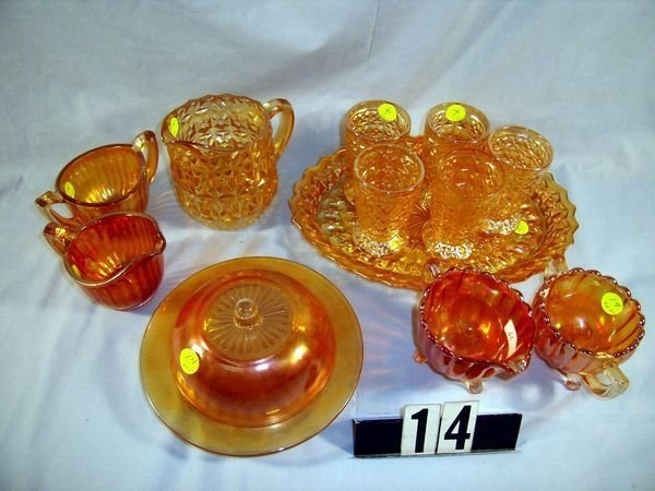 14: Carnival Glass Lot: Luster & Clear Butterdish, etc
