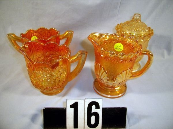 16: Carnival Glass Sugar & Creamer Sets