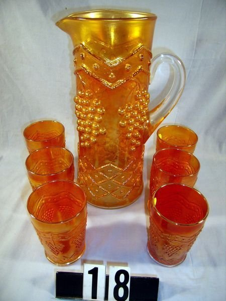 18: Carnival Glass Lattice & Grape 7 Pc. Water Set