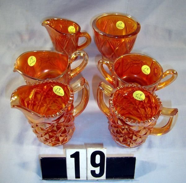 19: Carnival Glass - (3) Creamer & Sugar Sets