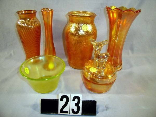 "23: Carnival Glass Lot: Marigold Vases - 8"" Bud, etc"