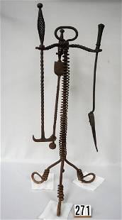 HAND WROUGHT CI FIREPLACE TOOL STAND WITH 3 TOOLS