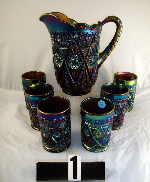 1: Carnival Glass - (7 Pc.) Diamond Lace Water Set -