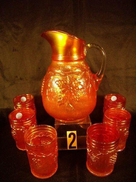 2: Carnival Glass - (7 Pc.) Vineyard Water Set - Pitc