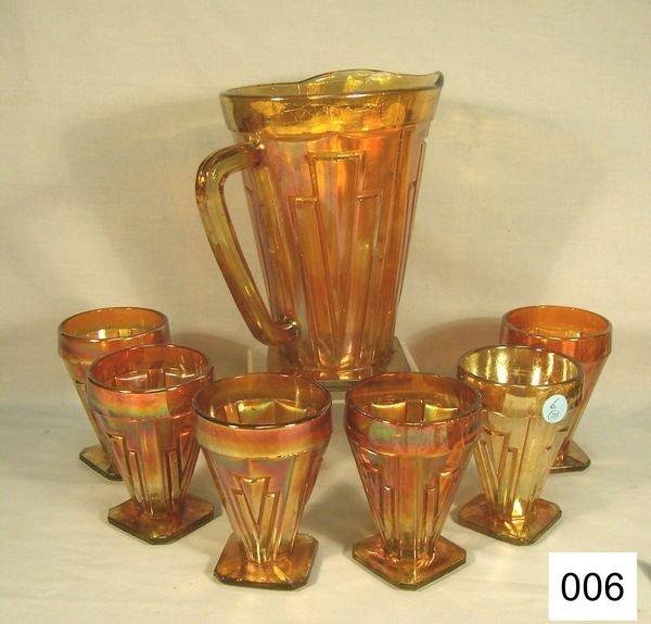 "6: Carnival Glass (7 Pc.) Decorama Water Set: 8 1/2"""