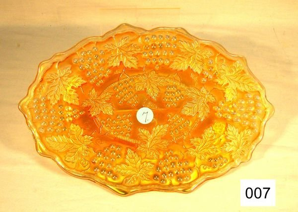 """7: Carnival Glass Grape & Cable 11"""" Oval Dresser Tray"""