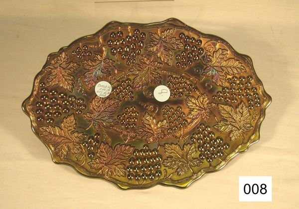 """8: Carnival Glass Grape & Cable 11"""" Oval Dresser Tray"""