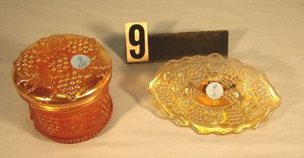 "9: Carnival Glass (2 Pcs.) Grape & Cable: 5 3/4"" Oval"