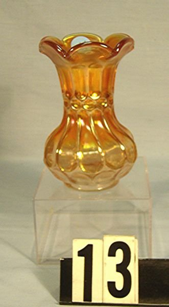 """13: Carnival Glass Thumbprint And Oval 5 1/2"""" Vase (M)"""