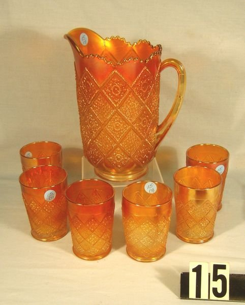 15: Carnival Glass Fentonia 7 Pc. Water Set (M) - Exce