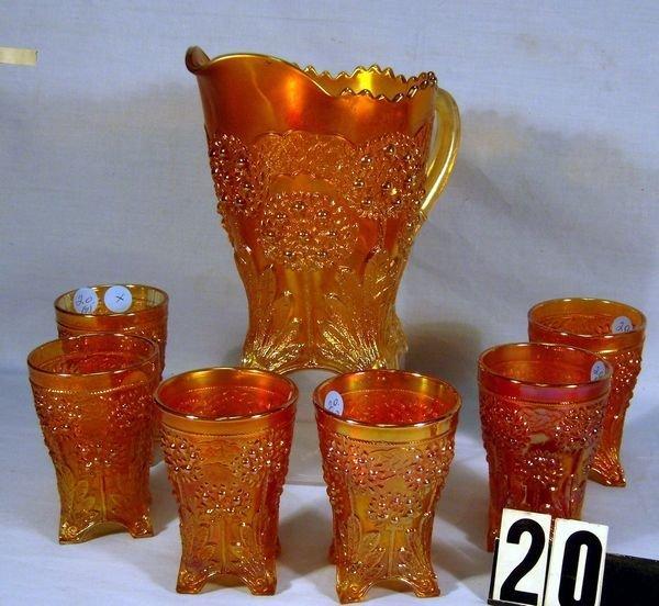 20: Carnival Glass Orange Tree 7 Pc. Water Set - Pitch