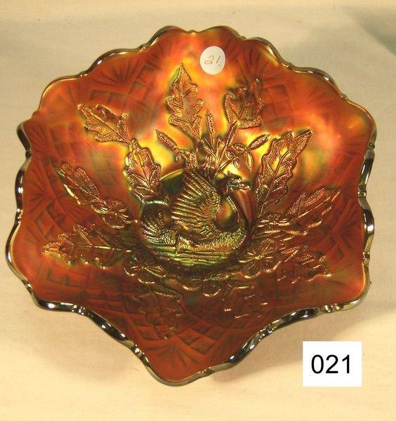 "21: Carnival Glass Nesting Swan - 9 3/4"" Bowl W/Ruffle"