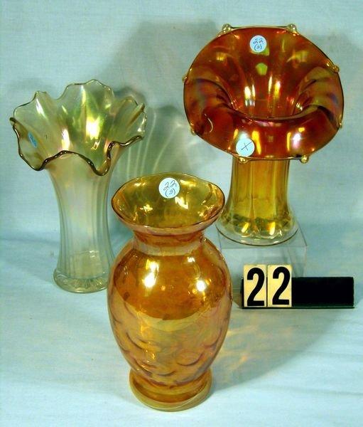 "22: Carnival Glass Vases: 9"" Jester Cap (M), Chip On O"