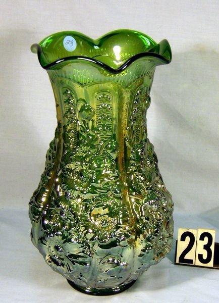 """23: Carnival Glass Poppy Show 12"""" Vase - Green, Signed"""