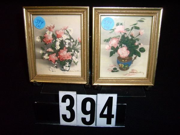 394: Pair Of Miniature Wallace Nutting Framed Floral Pr