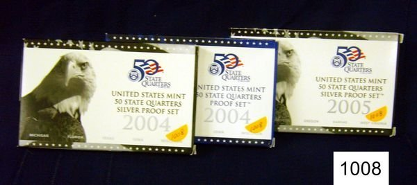 1008: 2004 & 2005 (5 PC.) SILVER PROOF STATE QUARTERS A