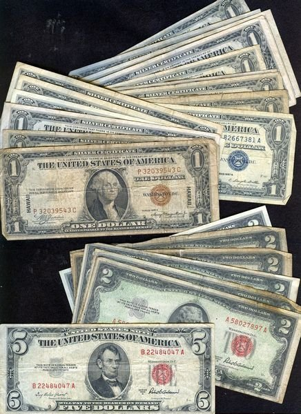 1016: CURRENCY LOT - (2) $1.00 HAWAII, (18) BLUE SEAL S