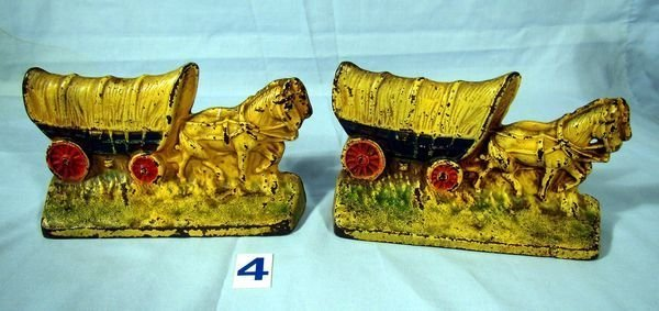 "4: 6 1/2"" HORSE-DRAWN COVERED WAGON BOOKENDS-NO. 302"