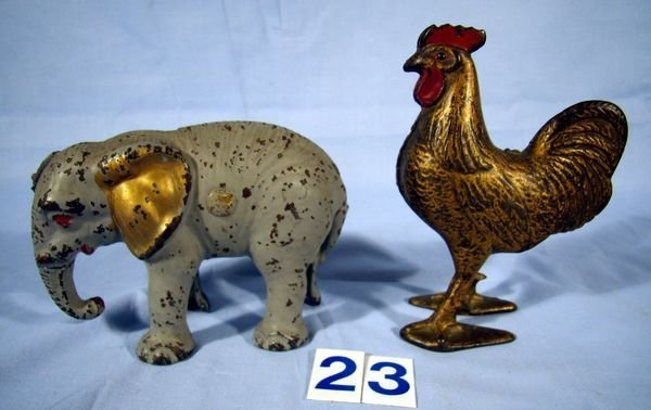 "23: CAST IRON STILL BANKS 5"" ROOSTER & 5"" ELEPHANT"