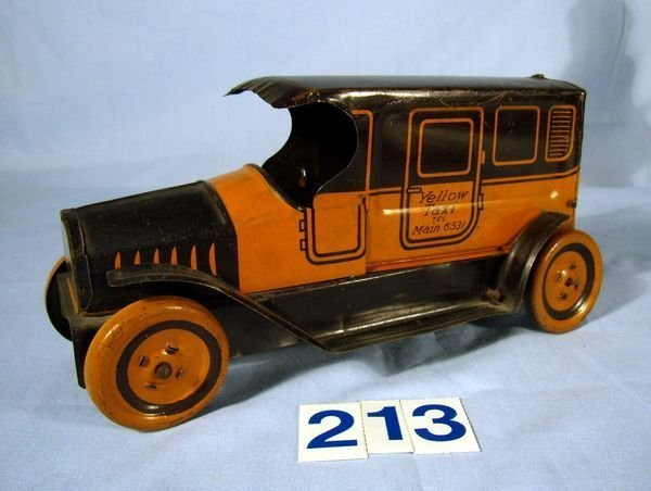 "213: 8"" 1923 RARE J.CHEIN NEW YORK YELLOW TAXI-EXCELLNT"